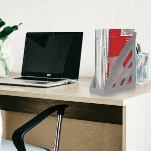 """Лоток вертикальный для бумаг BRAUBERG """"Office style"""", 245х90х285 мм, серый, 237279"""