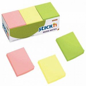 Блоки самоклеящиеся (стикеры) HOPAX, комплект 12 шт., 38х51 мм, 12х100 л., 3 цвета, неон, 21131