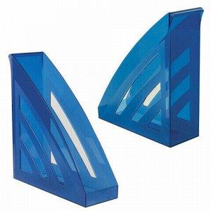 "Лоток вертикальный для бумаг BRAUBERG ""Office style"", 245х90х285 мм, тонированный синий, 237282"