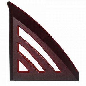 "Лоток вертикальный для бумаг BRAUBERG ""Office style"", 245х90х285 мм, тонированный красный, 237283"