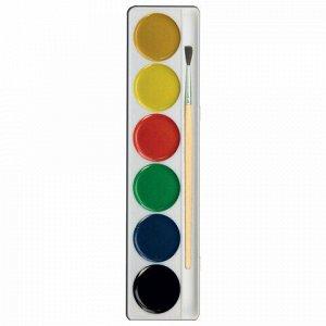 """Краски акварельные ЛУЧ """"Zoo"""", 6 цветов, медовые, с кистью, картонная коробка, 22С1415-08"""