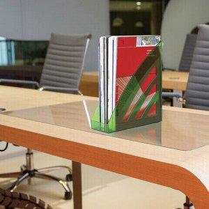 "Лоток вертикальный для бумаг BRAUBERG ""Office style"", 245х90х285 мм, тонированный зеленый, 237284"