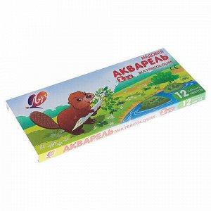 """Краски акварельные ЛУЧ """"Zoo"""", 12 цветов, медовые, с кистью, картонная коробка, 22С1416-08"""