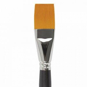 Кисть художественная проф. BRAUBERG ART CLASSIC, синтетика жесткая, плоская, № 30, длинная ручка, 200676
