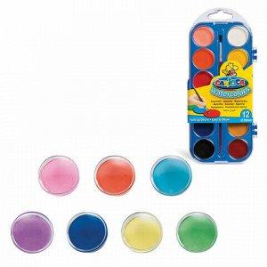 """Краски акварельные CARIOCA """"Watercolor"""", 12 цветов, с кистью, пластиковая коробка, европодвес, KO040/A"""
