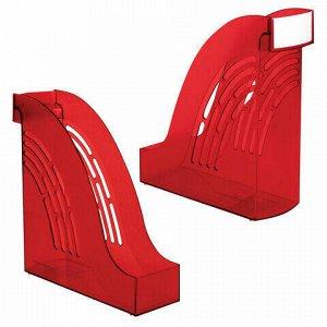 """Лоток вертикальный для бумаг BRAUBERG """"Office"""", 255х95х290 мм, тонированный красный, 237233"""