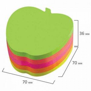 """Блок самоклеящийся (стикеры), фигурный, BRAUBERG, НЕОНОВЫЙ """"Яблоко"""", 400 листов, 5 цветов, 126693"""