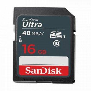 Карта памяти SDHC, 16 GB, SANDISK Ultra, UHS-I U1, 48 Мб/сек. (class 10), DUNB-016G-GN3IN