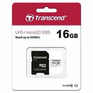 Карта памяти microSDHC 16 GB TRANSCEND UHS-I U1, 95 Мб/сек (class 10), адаптер, TS16GUSD300S-A