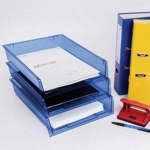 """Лотки горизонтальные для бумаг, КОМПЛЕКТ 3 шт., 340х270х70 мм, тонированный синий, BRAUBERG """"Office"""", 237259"""