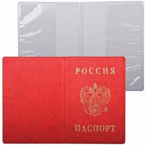 Обложка для паспорта с гербом, ПВХ, печать золотом, красная, ДПС, 2203.В-102