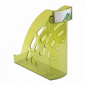 """Лоток вертикальный для бумаг СТАММ """"Торнадо"""" (255х300 мм), ширина 95 мм, тонированный зеленый, ЛТ406"""