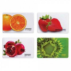 """Обложка-карман для карт, пропусков """"Фрукты"""", 95х65 мм, ПВХ, полноцветный рисунок, дизайн ассорти, ДПС, 2802.ЯК.Ф"""