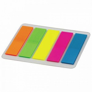 """Закладки клейкие ERICH KRAUSE """"Neon"""", 44х12 мм, 5 цветов х 20 листов, в пластиковой книжке, 31177"""