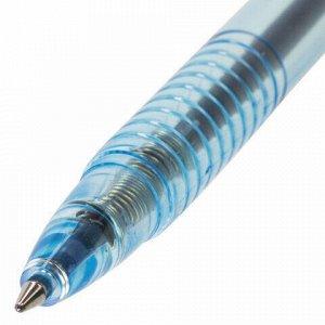 """Ручка шариковая масляная автоматическая BRAUBERG """"Click Blue"""", СИНЯЯ, тонированный корпус, узел 1 мм, линия письма 0,5 мм, 142712"""