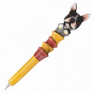 """Ручка фигурная """"СОБАЧКИ"""", СИНЯЯ, 4 дизайна ассорти, линия письма 0,5 мм, дисплей, BRAUBERG, 142751"""