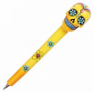 """Ручка фигурная """"ЧЕРЕПА"""", СИНЯЯ, 4 дизайна ассорти, линия письма 0,5 мм, дисплей, BRAUBERG, 142752"""