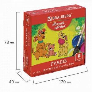 "Гуашь BRAUBERG ""МАГИЯ ЦВЕТА"", 9 цветов по 20 мл, без кисти, картонная упаковка, 190556"