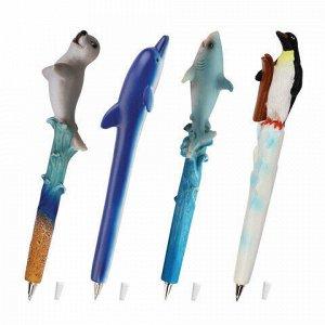 """Ручка фигурная """"МОРСКИЕ ЖИТЕЛИ"""", СИНЯЯ, 4 дизайна ассорти, 0,5 мм, дисплей, BRAUBERG, 142754"""