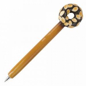 """Ручка фигурная """"ПОНЧИКИ"""", СИНЯЯ, 4 дизайна ассорти, линия письма 0,5 мм, дисплей, BRAUBERG, 142759"""