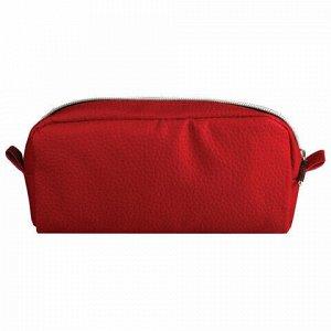 "Пенал-косметичка BRAUBERG под фактурную кожу, ""Идеал"", красный, 19х9х4 см, 226729"