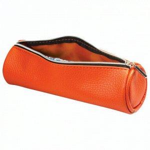 "Пенал-косметичка BRAUBERG под фактурную кожу, ""Экзотика"", оранжевый, 20х6х6 см, 226738"