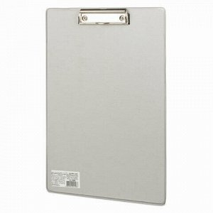 """Доска-планшет BRAUBERG """"Comfort"""" с прижимом А4 (230х350 мм), картон/ПВХ, РОССИЯ, СЕРАЯ, 222661"""