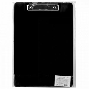 """Доска-планшет BRAUBERG """"SOLID"""" сверхпрочная с прижимом А4 (315х225 мм), пластик, 2 мм, ЧЕРНАЯ, 226822"""