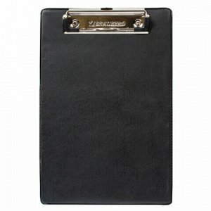 "Доска-планшет МАЛЫЙ ФОРМАТ (158х230 мм), А5, BRAUBERG ""NUMBER ONE ""с прижимом, картон/ПВХ, ЧЕРНАЯ, 232224"