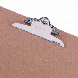 """Доска-планшет БОЛЬШОГО ФОРМАТА (320х460 мм), А3, BRAUBERG """"Eco"""" с прижимом, МДФ, 3 мм, СВЕТЛО-КОРИЧНЕВАЯ, 232226"""