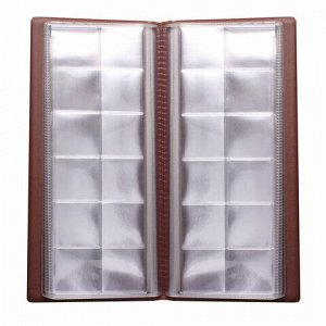 """Альбом для монет или купюр, 105х223 мм, на 72 монеты D до 30 мм, выдвижные карманы, коричневый, """"ДПС"""", 2858-104"""