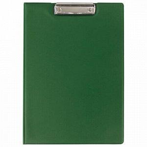 Папка-планшет BRAUBERG, А4 (340х240 мм), с прижимом и крышкой, картон/ПВХ, РОССИЯ, зеленая, 228340