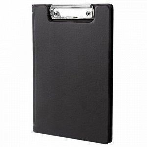 Папка-планшет МАЛЫЙ ФОРМАТ (180х255 мм) А5, BRAUBERG, с прижимом и крышкой, картон/ПВХ, черная, 227980