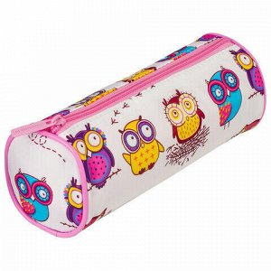 "Пенал-тубус BRAUBERG, с эффектом Soft Touch, мягкий, ""Owls"", 22х8 см, 229007"