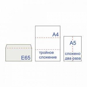 Конверты Е65 (110х220 мм), отрывная лента, 80 г/м2, КОМПЛЕКТ 25 шт., внутренняя запечатка, BRAUBERG, 122449