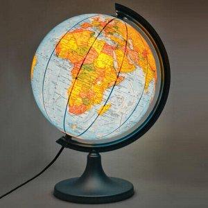 """Глобус физический/политический DMB, диаметр 250 мм, с подсветкой (по лицензии ГУП ПКО """"Картография""""), 451331"""