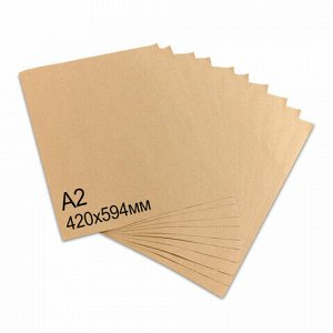Крафт-бумага в листах А2, 420 х 594 мм, плотность 78 г/м2, 100 листов, Марка А (Коммунар), BRAUBERG, 440150