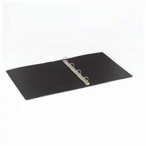 Папка на 4 кольцах BRAUBERG, картон/ПВХ, 35 мм, черная, до 250 листов (удвоенный срок службы), 221483