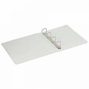 Папка на 4 кольцах с передним прозрачным карманом BRAUBERG, 65 мм, картон/ПВХ, белая, до 400 листов, 221487