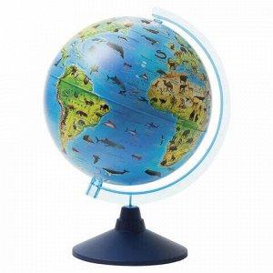 """Глобус зоогеографический GLOBEN """"Классик Евро"""", диаметр 250 мм, детский, Ке012500269"""