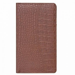 "Визитница/кредитница трехрядная BRAUBERG ""Cayman"", на 96 карт, под кожу крокодила, коричневая, 231762"