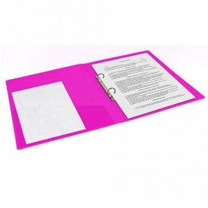 "Папка на 2 кольцах BRAUBERG ""Neon"", 25 мм, внутренний карман, неоновая розовая, до 170 листов, 0,7 мм, 227458"