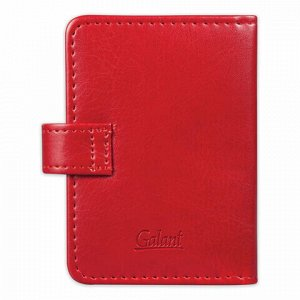 """Визитница/кредитница однорядная GALANT """"Ritter"""", на 24 карты, под гладкую кожу, застежка, бордовая, 235399"""