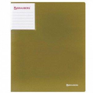 """Папка на 2 кольцах BRAUBERG """"Шелк"""", 25 мм, внутренний карман, бронза, до 170 листов, 0,7 мм, 227503"""
