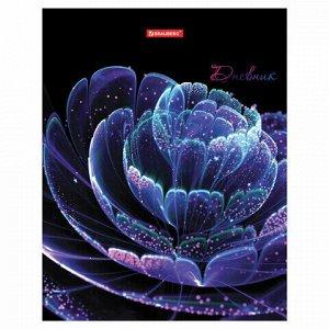 """Дневник 5-11 класс, 48 л., твердый, BRAUBERG, металлизированный картон, с подсказом, """"Цветок"""",105602"""