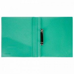 """Папка на 2 кольцах BRAUBERG """"Диагональ"""", 25 мм, внутренний карман, тонированная зеленая, до 170 листов, 0,7 мм, 227505"""