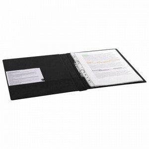 Папка на 2 кольцах BRAUBERG, картон/ПВХ, 35 мм, черная, до 180 листов (удвоенный срок службы), 228377