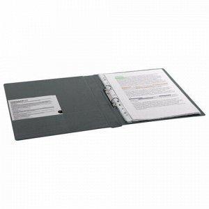 Папка на 2 кольцах BRAUBERG, картон/ПВХ, 35 мм, серая, до 180 листов (удвоенный срок службы), 228380