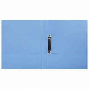 Папка на 2 кольцах BRAUBERG, картон/ПВХ, 35 мм, голубая, до 180 листов (удвоенный срок службы), 228384