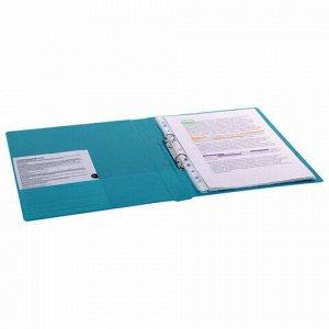 Папка на 2 кольцах BRAUBERG, картон/ПВХ, 35 мм, бирюзовая, до 180 листов (удвоенный срок службы), 228385